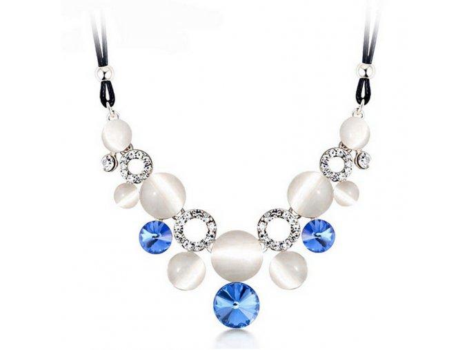 Dámský perlový náhrdelník modrý