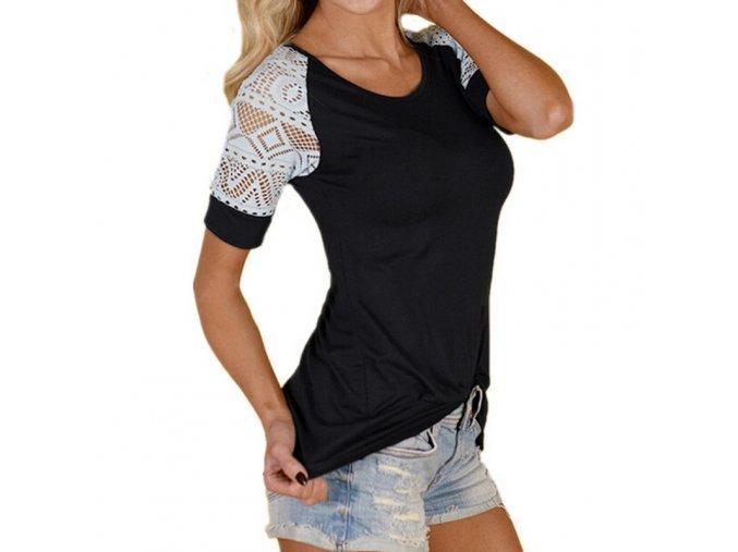 Černé dámské triko s krajkovanými rukávy