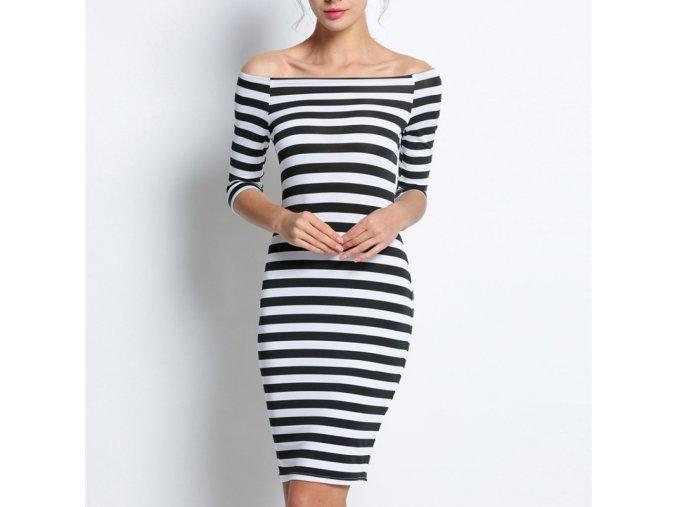 Elegantní pruhované letní šaty