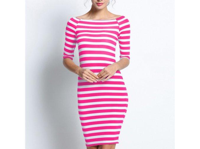 Růžové pruhované letní šaty