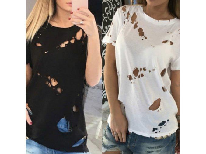 Stylové dámské triko s dírami