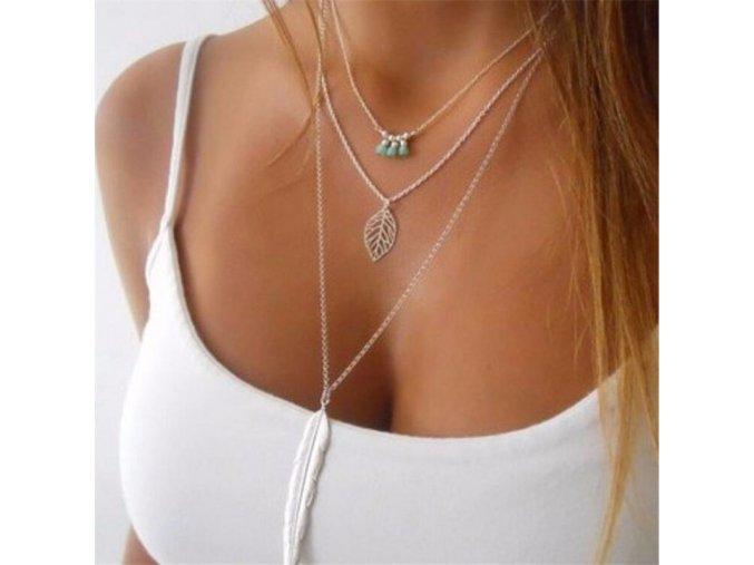 Dámský vrstvený náhrdelník s pírkem