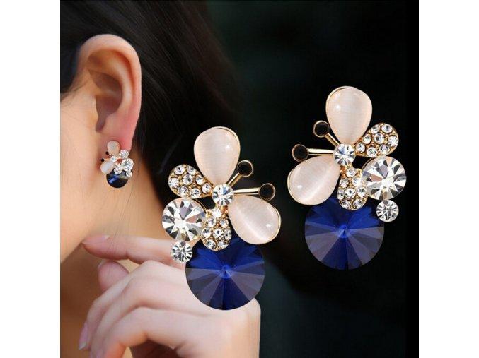 Luxusní dámské náušnice modré