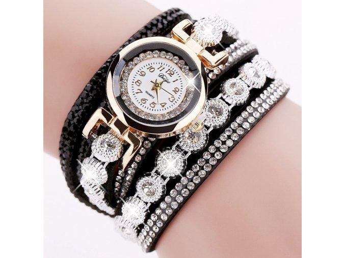 Náramkové hodinky se zirkony černé