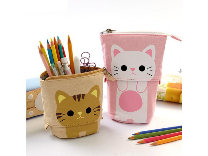 Flexible Big Cat Pencil Case Fabric Quality School Supplies Stationery Gift School Cute Pencil Box Pencilcase