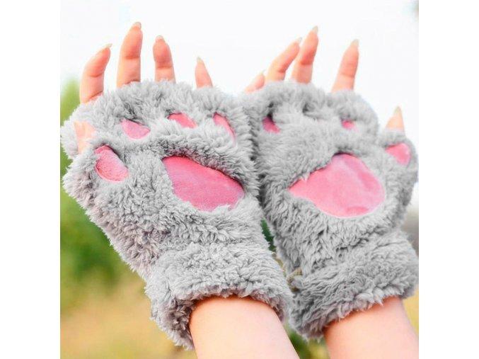 Chlupaté rukavice packy