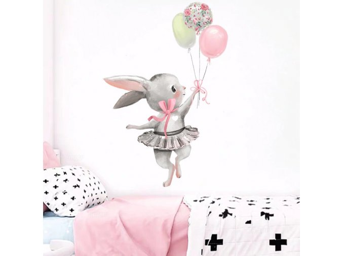 ute grey bunny ballet rabbit wall stick main 2