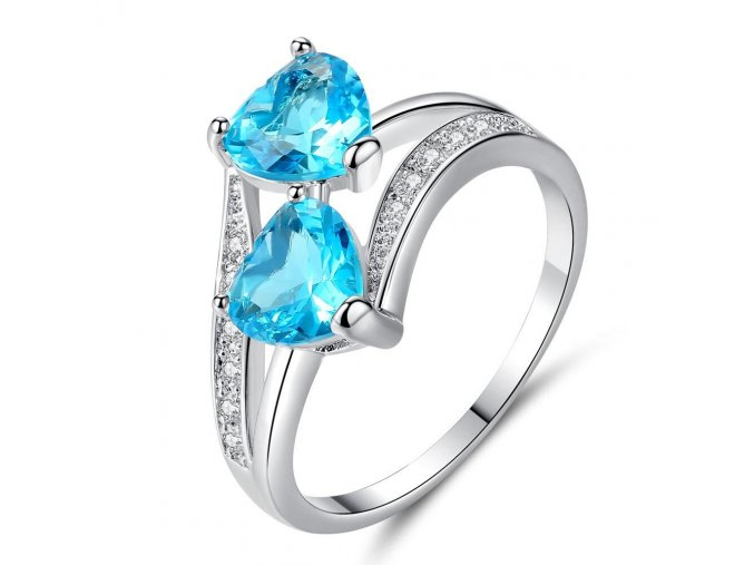 Blue ouble heart rainbow lady ring wedding r variants 2
