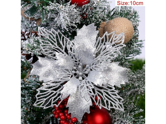 10cm Silver pcs glitter christmas flower artificial variants 1