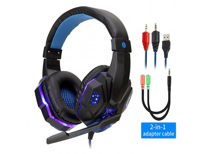 BlackBlue with Light professional led light gamer headset for variants 2