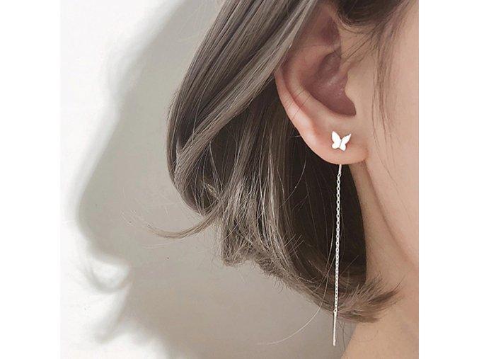 long tassel butterfly drop earrings silv main 0