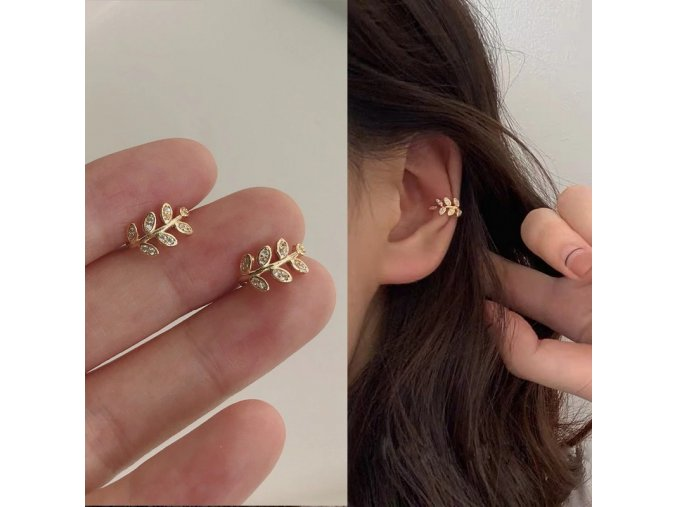 fashion gold leaf clip earring for women main 0