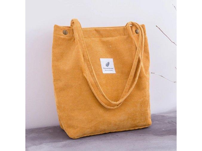 Yellow women corduroy shopping bag female canva variants 1
