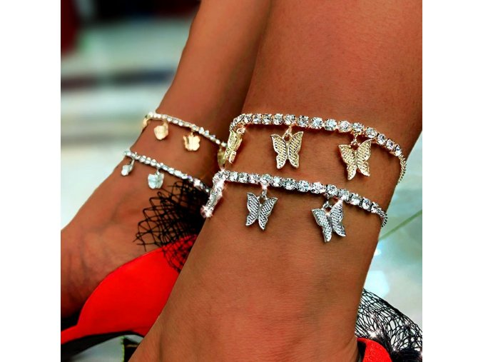 ins fashion butterfly anklet rhinestone main 1
