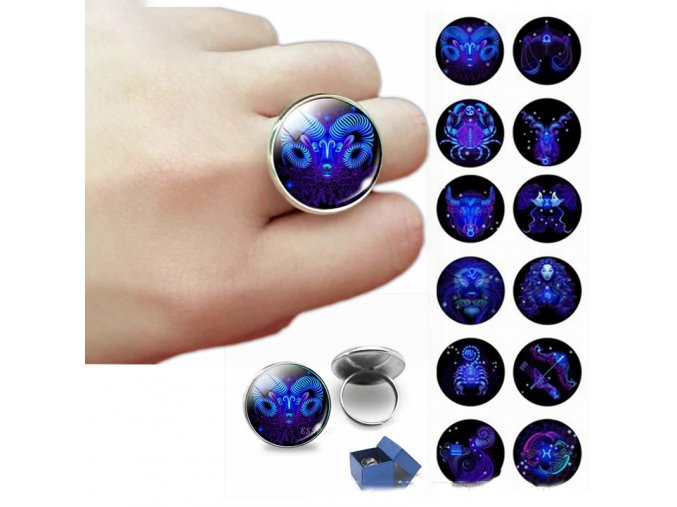 12 constellation ring zodiac art jewelry main 0