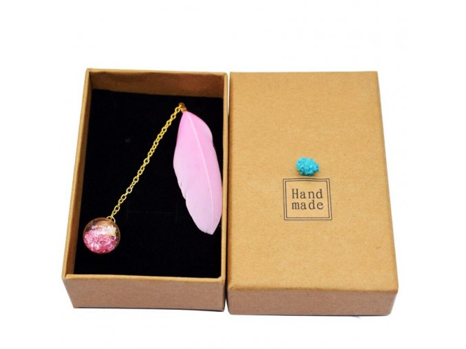 Pink 1 pcs boxed colorful feather glass ball variants 4