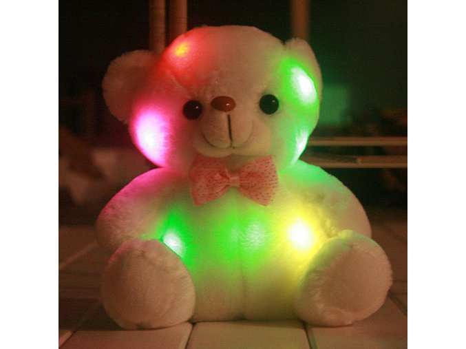 New plush small colorful glowing bear light pillow teddy model birthday gifts Christmas gifts new years