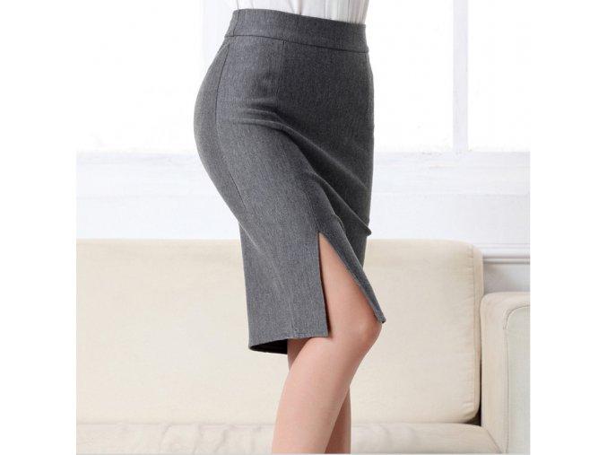 Elegantní dámská sukně s rozparkem šedá