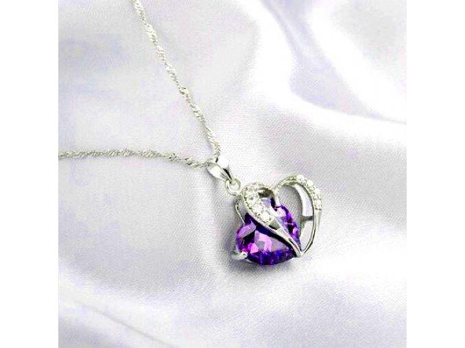 Dámský řetízek s krystalovým srdcem fialové