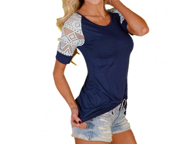 Modré dámské triko s krajkovanými rukávy