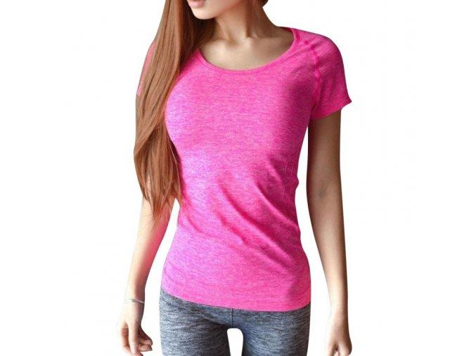 Dámské fitness růžové triko