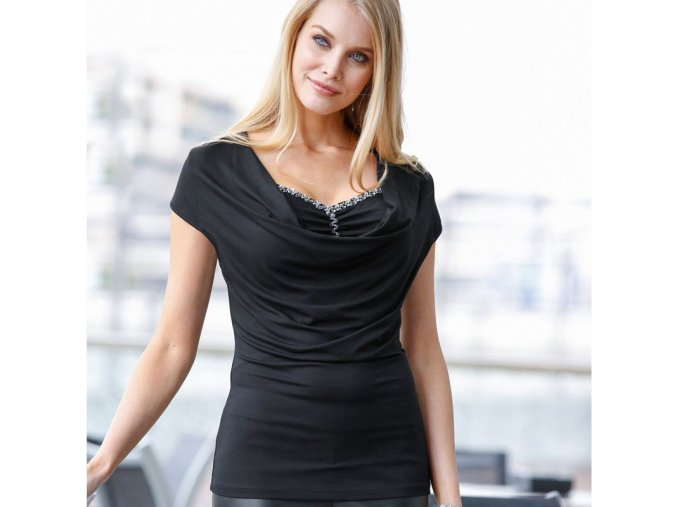Stylové dámské triko se zdobeným výstřihem černé