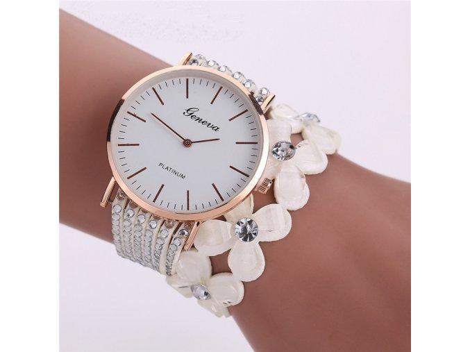 Luxusní dámské hodinky s náramkem bílé