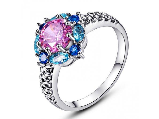 Luxusní postříbřený prsten s barevnými krystaly