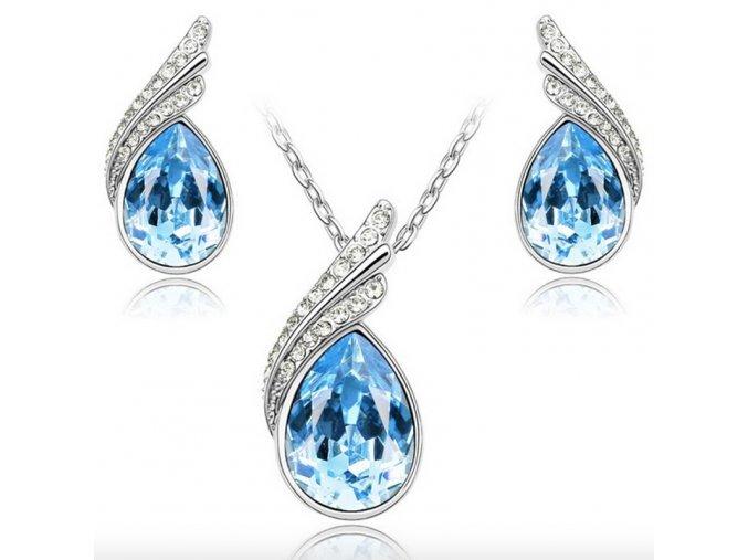 Postříbřený set šperků s krystaly