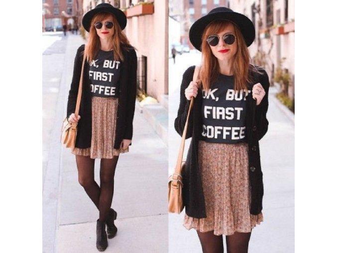 Černé dámské triko s nápisem Coffee