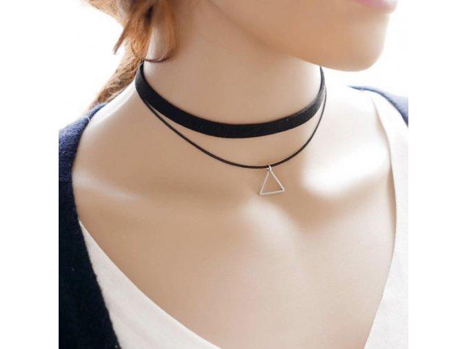 Dvojitý dámský náhrdelník s přívěskem