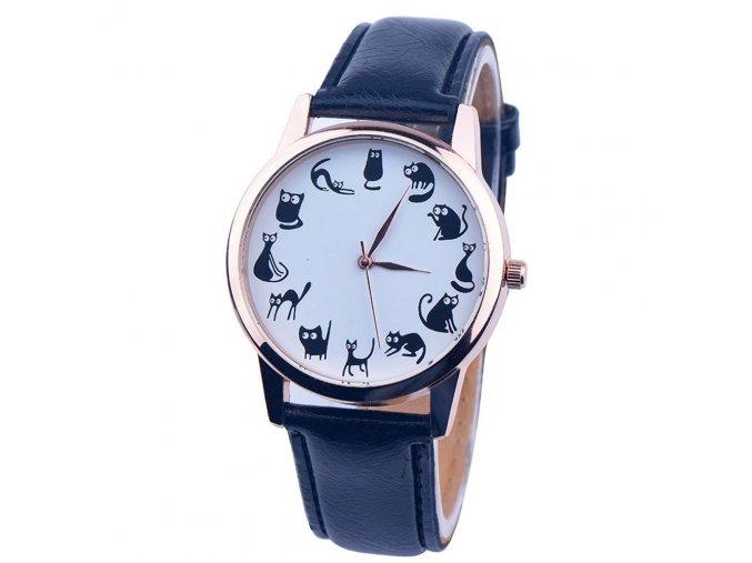Stylové černé hodinky s kočkami - SLEVA 70%