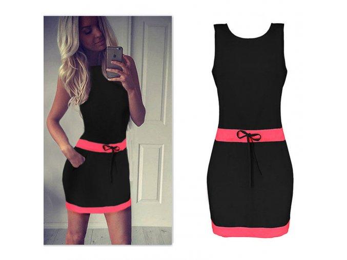 Černé letní šaty s růžovými pruhy