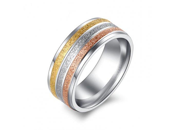 Luxusní dámský trojbarevný prsten - SLEVA 50%