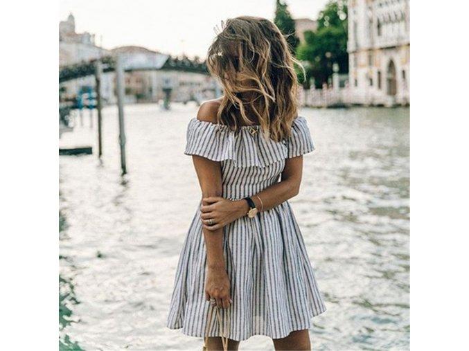Dámské letní pruhované šaty
