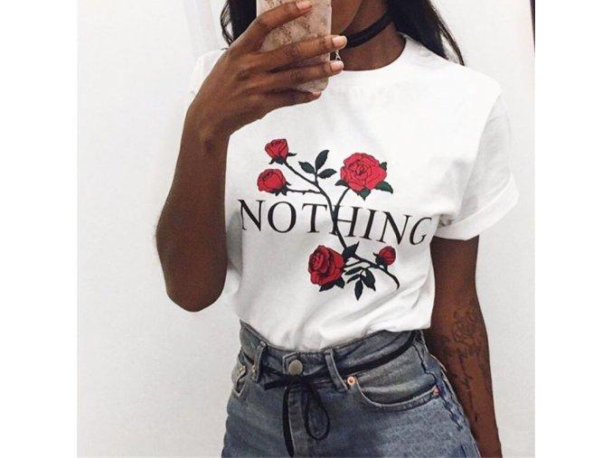 Dámské letní triko s růží