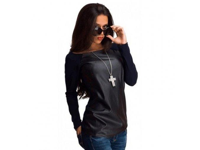 Kožené triko s dlouhými rukávy