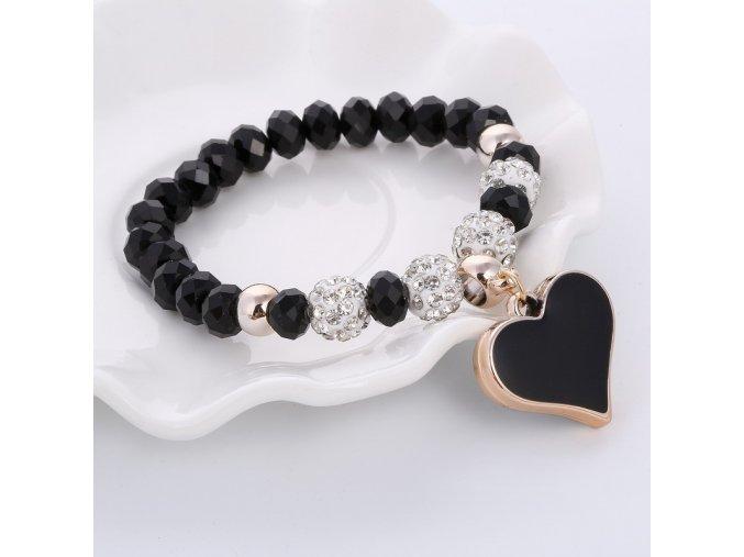 Moderní dámský náramek se srdcem a krystaly černý