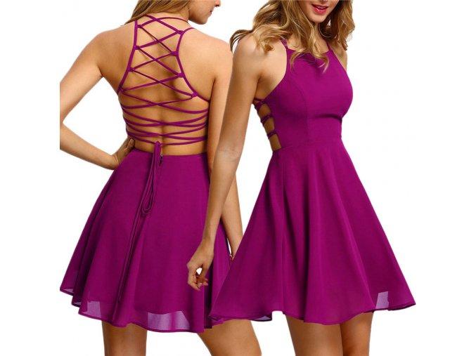 Krátké letní šaty s vázáním fialové
