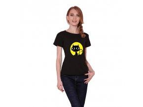 Černé dámské triko s kočkou