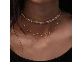 Dámský vícevrstvý náhrdelník - SLEVA 80%