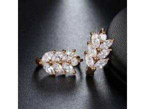 Stylové náušnice s krystaly pozlacené