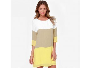 Dámské letní šaty s pruhy žluté