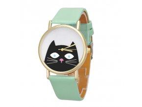 Roztomilé hodinky s kočkou zelené