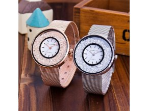 Kovové dámské hodinky s krystaly