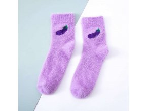 Eggplant winter imitate mink velvet socks cute fr variants 2