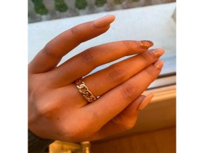 gold color plating chain shape ring 7 mm main 0