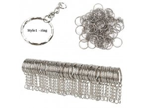 50Pc keychain style1 silver plated metal blank keyring keycha variants 0