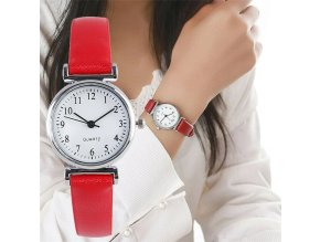Red classic womens casual quartz leather ba variants 0
