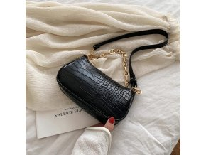 Black fashion crocodile pattern baguette bags variants 1